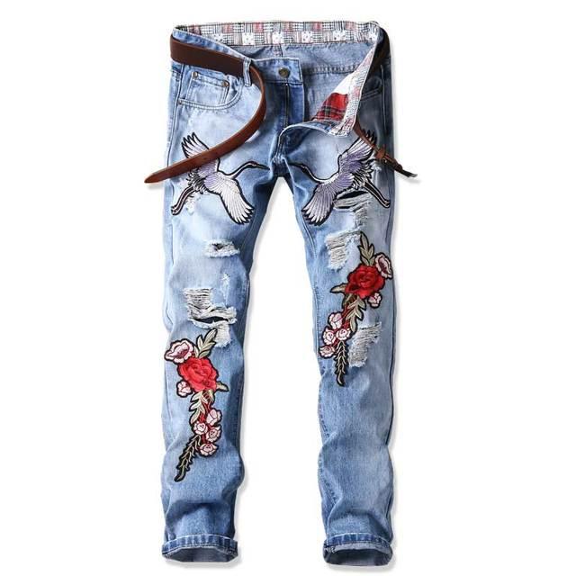 Rock Unique Hommes Punk Dj Fleur Pantalon Broderie Designer Denim Vêtements Mode De Nuit Club Rue Pour Déchiré Jeans nvm80yOPNw