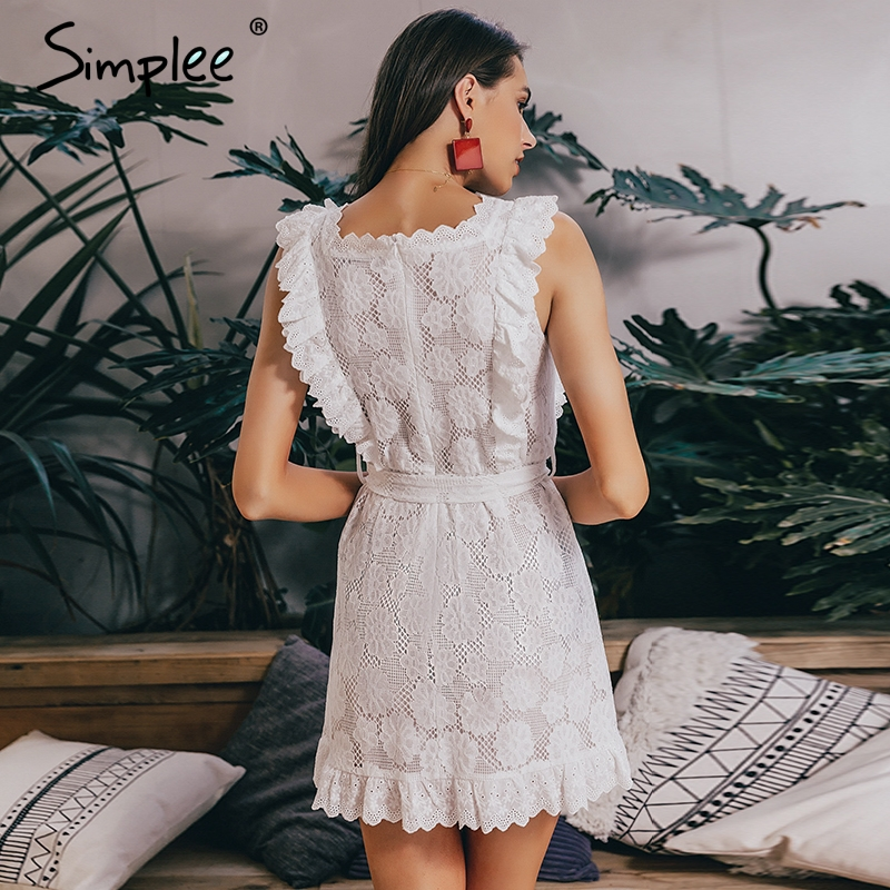 8484b783b5 Aliexpress.com : Buy Simplee Elegant embroidery lace women dress Hollow out  sashes ruffle white summer dress Slim sexy party lady dress vestidos 2019  from ...