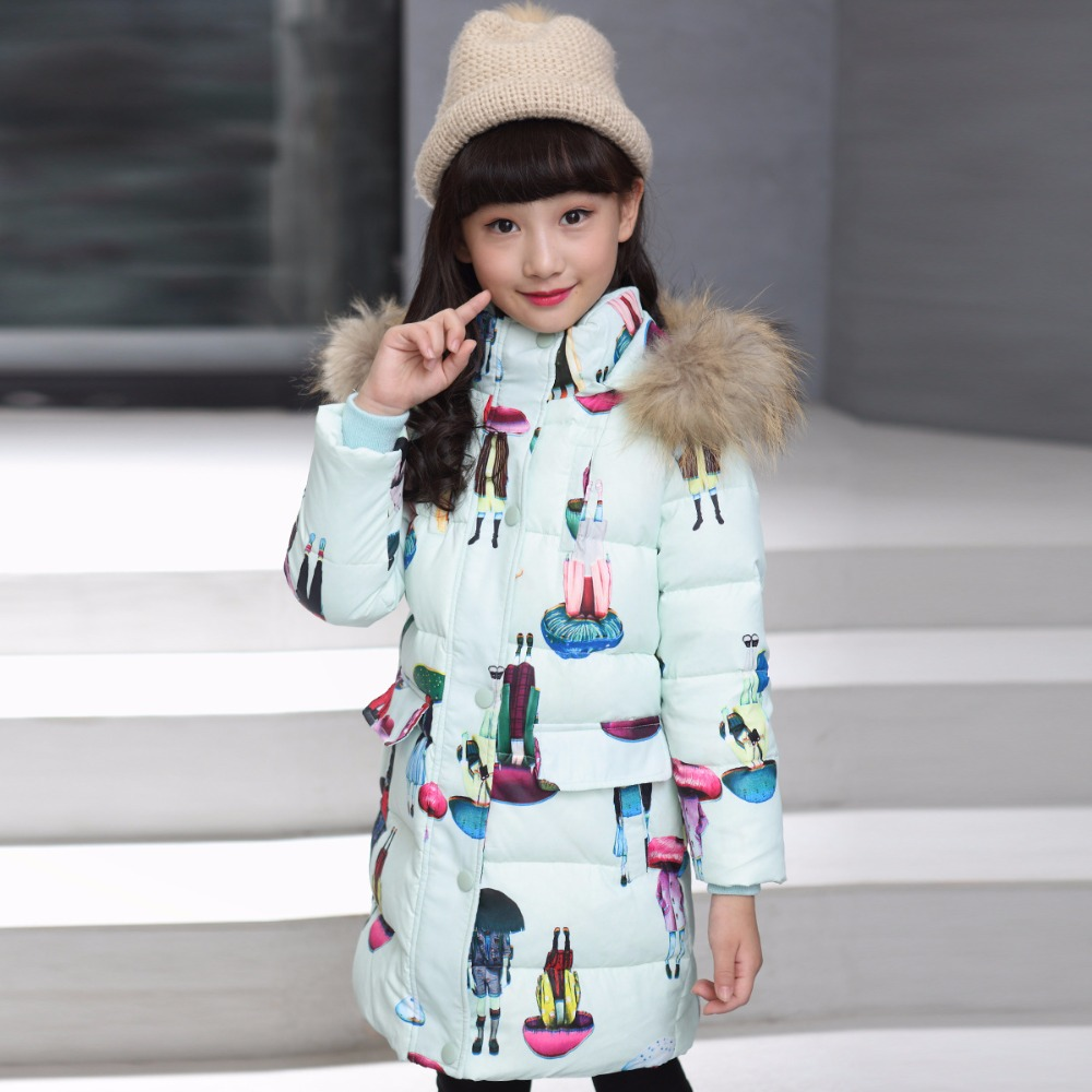 Girl 2017 Korean new large thick fur collar coat winter for size 8 9 10 11 12 13 14 years child long cartoon pattern down jacket baby boy and girl 2017 new korean thick down jacket winter for size 1 2 3 4 years child long coat kid tide casual outerwear