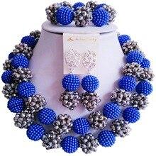 В продаже Королевский Синий Серебряный Цвет Кристалл нигерийские Женщины Свадебные бусы Ювелирные наборы 2C-ZZSJ-46