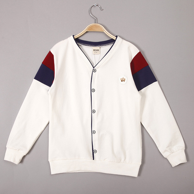 V-образным вырезом рубашки для Мальчиков 2016 Мода Мальчики Куртки Хлопка повседневная футболки для Мальчиков Толстовки Кофты для Детей Дети топы