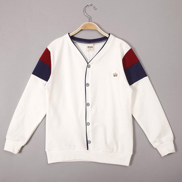 V-pescoço da camisa de T para Meninos 2016 Moda Meninos Jaqueta de Algodão camisa ocasional T para Meninos Hoodies Camisolas para Crianças dos miúdos topos
