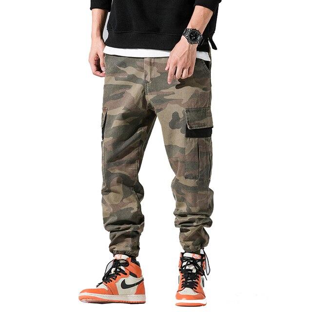 drop shipping men cargo pants camouflage sweatpants hip hop harem joggers pants muli pockets overalls NXP18