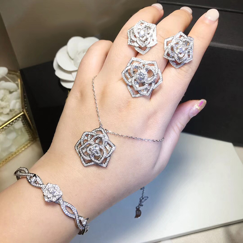 ZOZIRI high quality 925 Sterling Silver Jewelry For Women Rose Flower Jewelry Rose Flower Earrings necklace Bracelet Ring SetZOZIRI high quality 925 Sterling Silver Jewelry For Women Rose Flower Jewelry Rose Flower Earrings necklace Bracelet Ring Set