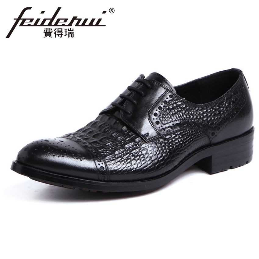 New Alligator Genuine Leather Mens Handmade Carved Oxfords Vintage Round Toe Derby Man Formal Dress Wedding Brogue Shoes YMX496New Alligator Genuine Leather Mens Handmade Carved Oxfords Vintage Round Toe Derby Man Formal Dress Wedding Brogue Shoes YMX496