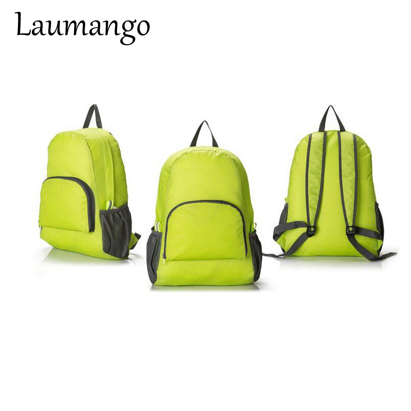 Laumango Portable Foldable Nylon Zipper waterproof Travel Backpack cheap Shoulder Bag storage For men and women