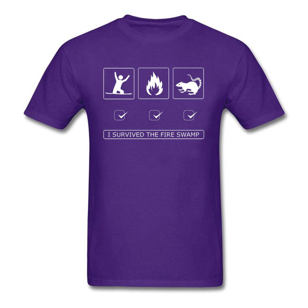 Discount Man Top T-shirts Customized Summer Tops & Tees 100% Cotton Short Sleeve Europe T-Shirt Round Neck Top Quality I survived the fire swamp 3004 purple