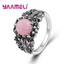 Stone-Rings Pink Opal 925-Sterling-Silver Bohemia Fashion Women Beauty Trendy Summer-Style
