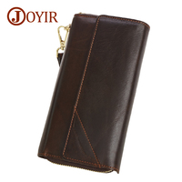 JOYIR Business Genuine Leather Men Clutch Wallet Bag Vintage Hasp Men Wallets Cow Leather Male Coin Purses Brand Designer Wallet