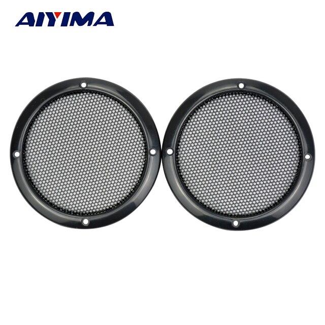 Aiyima 2 piezas 3 pulgadas altavoz círculo decorativo con malla de hierro negra protectora