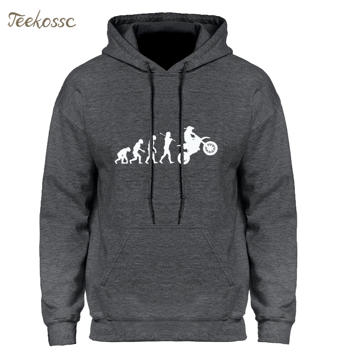 Dirtbike Evolution Motocross Hoodie Hoodies Sweatshirt Men Winter Autumn Hooded Hoody Homens Hip Hop Black White High Quality