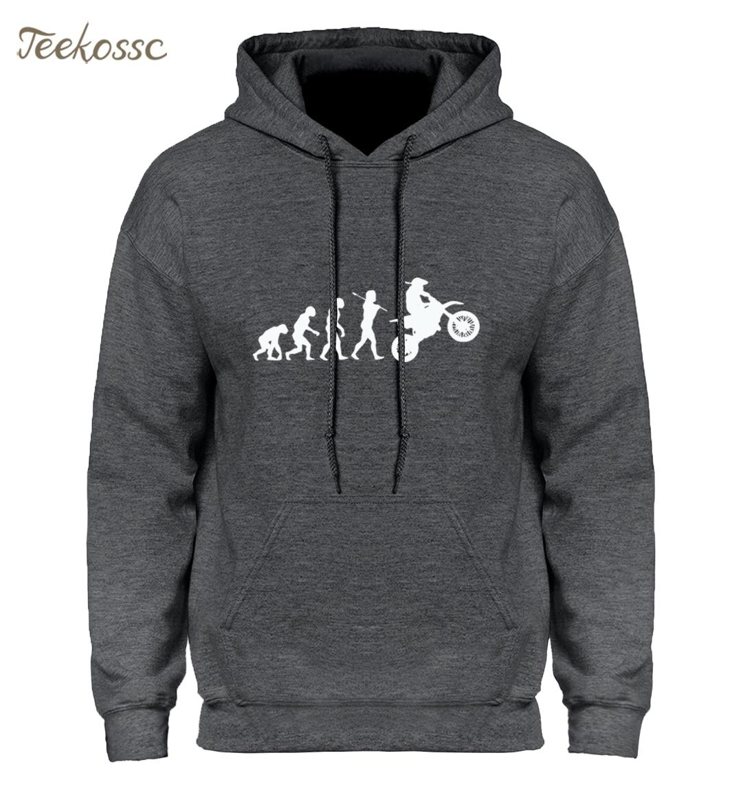 Dirtbike Evolution Motocross Hoodie Hoodies Sweatshirt Men Winter Autumn Hooded Hoody Homens Hip Hop Black White High Quality