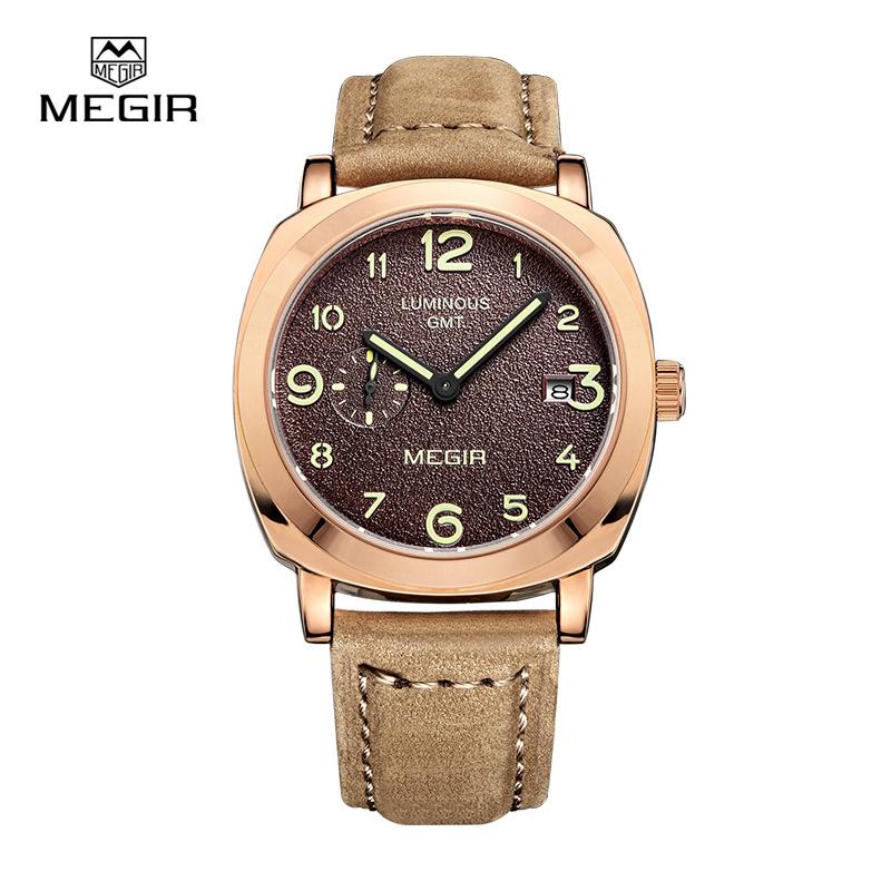 Prix pour Megir hommes quartz mode pointeur avec lumineuse bracelet en cuir étanche montres de sport relogio masculino relojes 1046