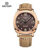 Megir hommes quartz mode pointeur avec lumineuse bracelet en cuir étanche montres de sport relogio masculino relojes 1046