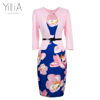 Yilia New Women One Piece Patchwork Floral Print Elegant Business Party Formal Office Plus Size Bodycon