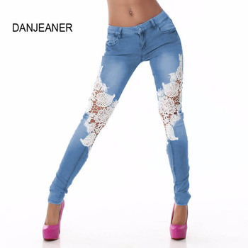 DanjeanerSummer Style Women Ripped Jeans Ladies Lace Floral Splice High Waist Jeans Hollow Out Casual Women's Denim Pencil Pant white floral lace patchwork denim jeans