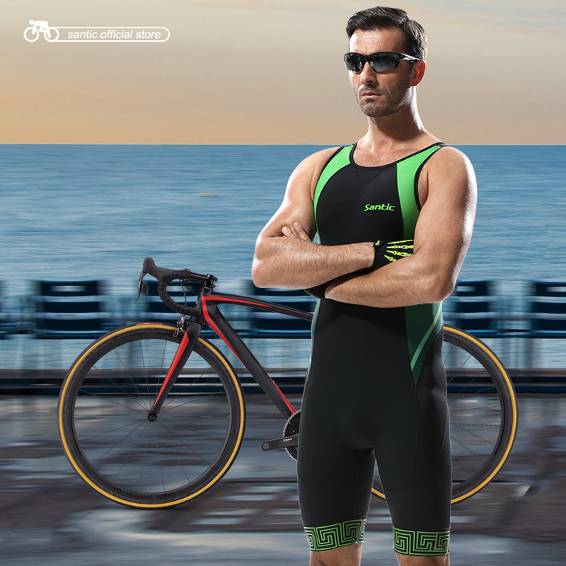 Santic Hommes Triathlon Vêtements Élastique Cyclisme Maillot Serré Costume Vélo Vélo Hommes de Natation Triathlon Maillots Sans Manches M5C03006V