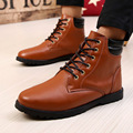 2016 Winter Men Ankle Boots British Style High Wind Short Boots Round Head Increased Thick Bottom Non-mainstream Leather Shoe