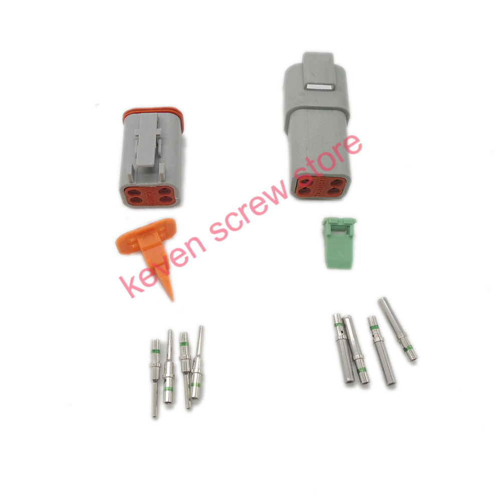 все цены на 1 sets Kit Deutsch DT 4 Pin Waterproof Electrical Wire Connector plug Kit DT06-4S DT04-4P,14GA