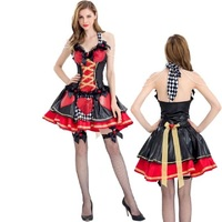 Sexy Queen Of Red Hearts Mini Dress Poker Princess Cosplay Uniforms Halloween Costumes For Women Alice