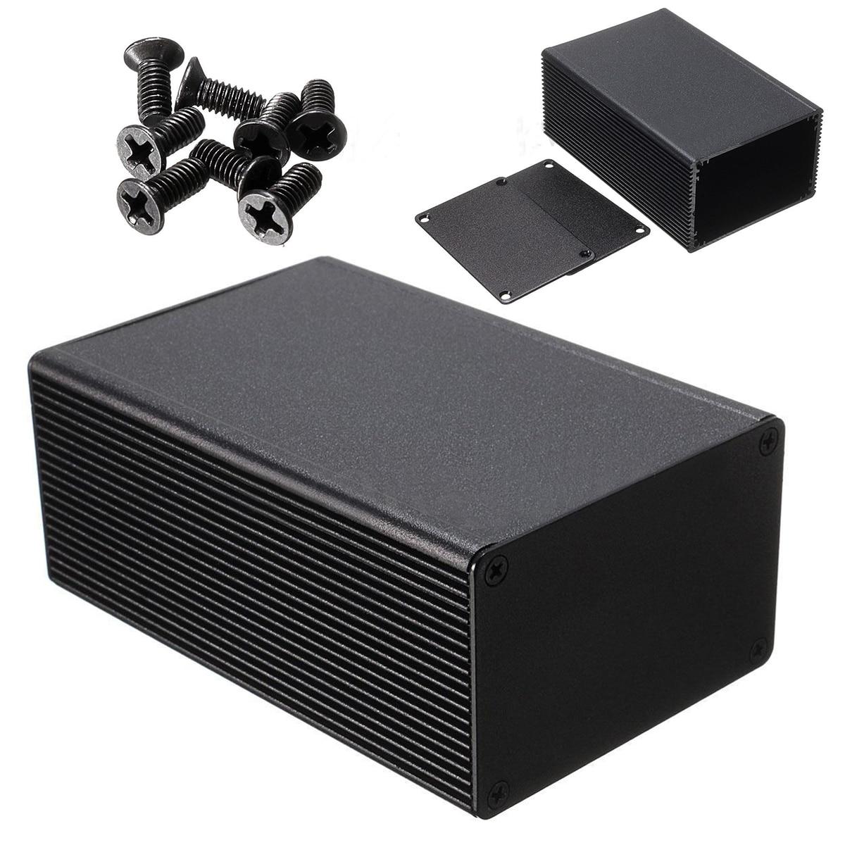 1pc Aluminum Alloy Electronic PCB Instrument Case Black Enclosure Box 100x66x43mm Durable With 8pcs Screws