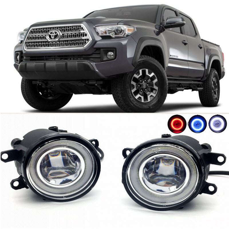 For Toyota Tacoma 2012-2015 2016 2017 2 in 1 LED Cut-Line Lens Fog Lights Lamp 3 Colors Angel Eyes DRL Daytime Running Lights for opel astra h gtc 2005 15 h11 wiring harness sockets wire connector switch 2 fog lights drl front bumper 5d lens led lamp