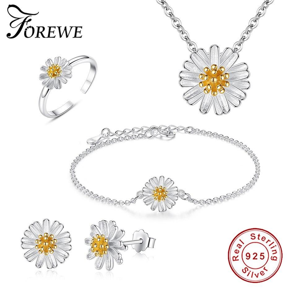 Ensemble de bijoux de mariée en argent Sterling 925 pour femmes ensemble de bijoux en émail Daisy fleur collier + boucles d'oreilles + Bracelet + bague