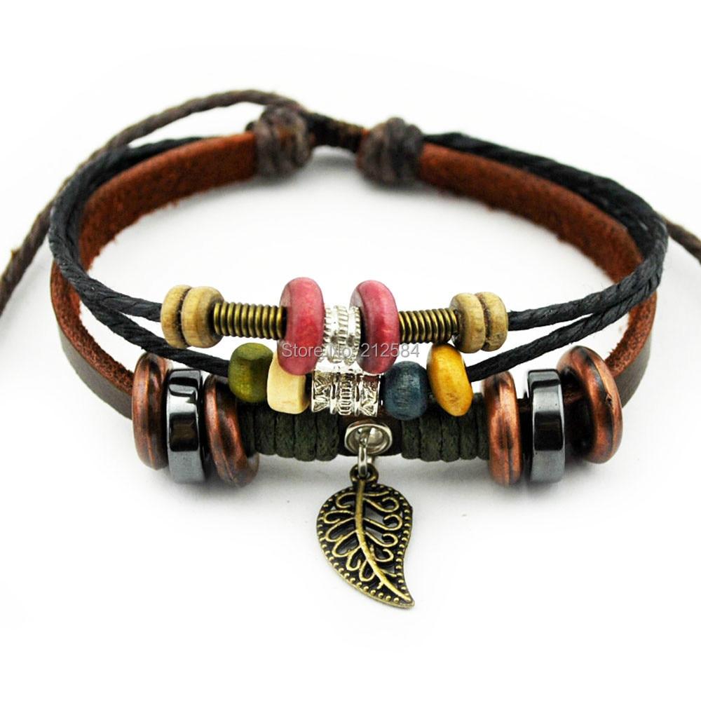 A538 Fashion Handmade Hemp Leather Bracelet Leaf Beads Wristband Womens  Man's Adjustable Charm Bracelet Gift Free