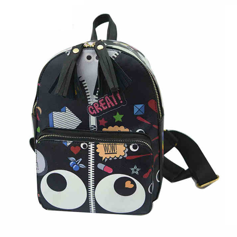 2017 New Fashion Pu Leather Girl Boy Backpack Cartoon Big Eyes knapsack Preppy School Student Style