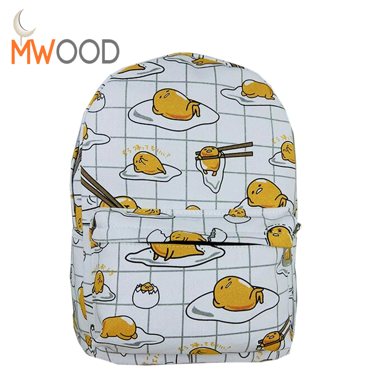 2017 Hot Fashion Japanese Harajuku ulzzang Emoji Poached Egg Backpack Preppy Canvas School Bag Women Travel Shoulder Bag mochila