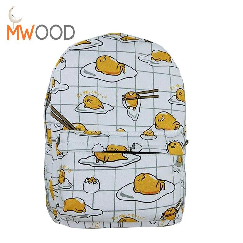 Moon Wood Fashion Japanese Harajuku Emoji Poached Egg Backpacks Canvas School Bags Travel Outside Leisure Cute Shoulder Bag недорго, оригинальная цена