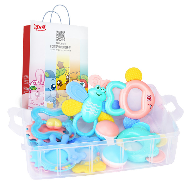 YLB Plastic Educational For Children Kids Gift Wholesale Baby Rattles Teether Toys Accept Boxed Bell Cartoon