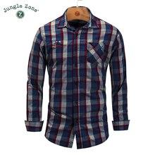 European size Brand Men's Clothes High quality men Long Sleeve Shirt Casual shirt Plaid printing 100%Cotton Shirts 2XL 3XL FM159