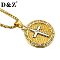 D Z Hiphop Rock Gold Color Casting Stainless Steel Round Paving CZ Cross Pendants Necklaces Jewelry