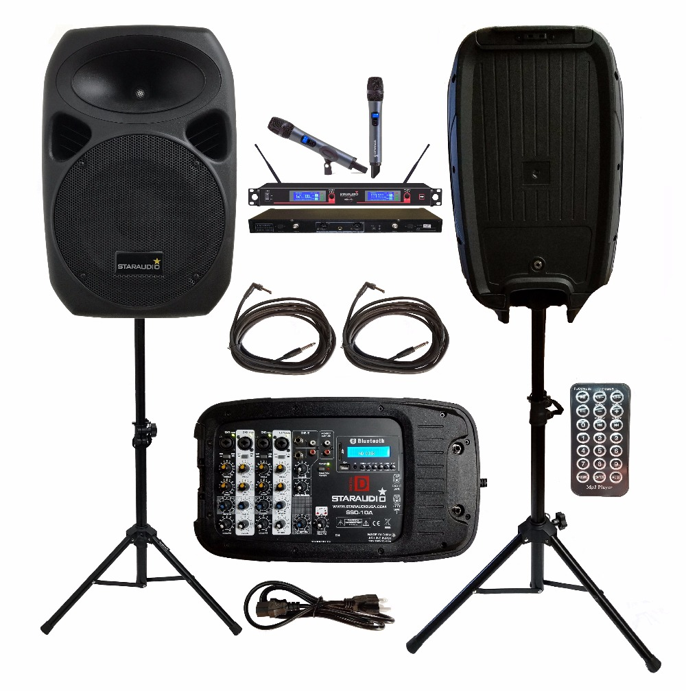 2 STARAUDIO 1500W 10PA DJ KTV Party Stage Passive BT SD Speakers W/2CH UHF Wireless Mics 2 Stands Powered Mixer Cables SSD-10A