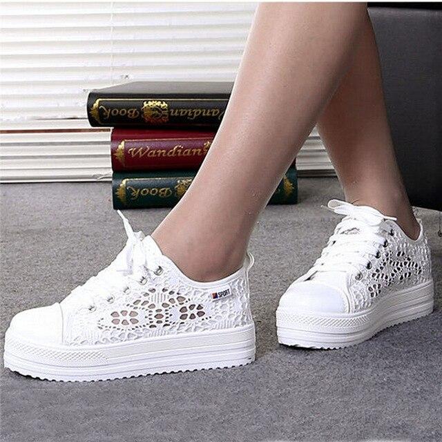 Женская обувь 2018 Модная Летняя Повседневная Дамская обувь вырезы кружева холст полые дышащая обувь на платформе обувь на плоской подошве женские кроссовки