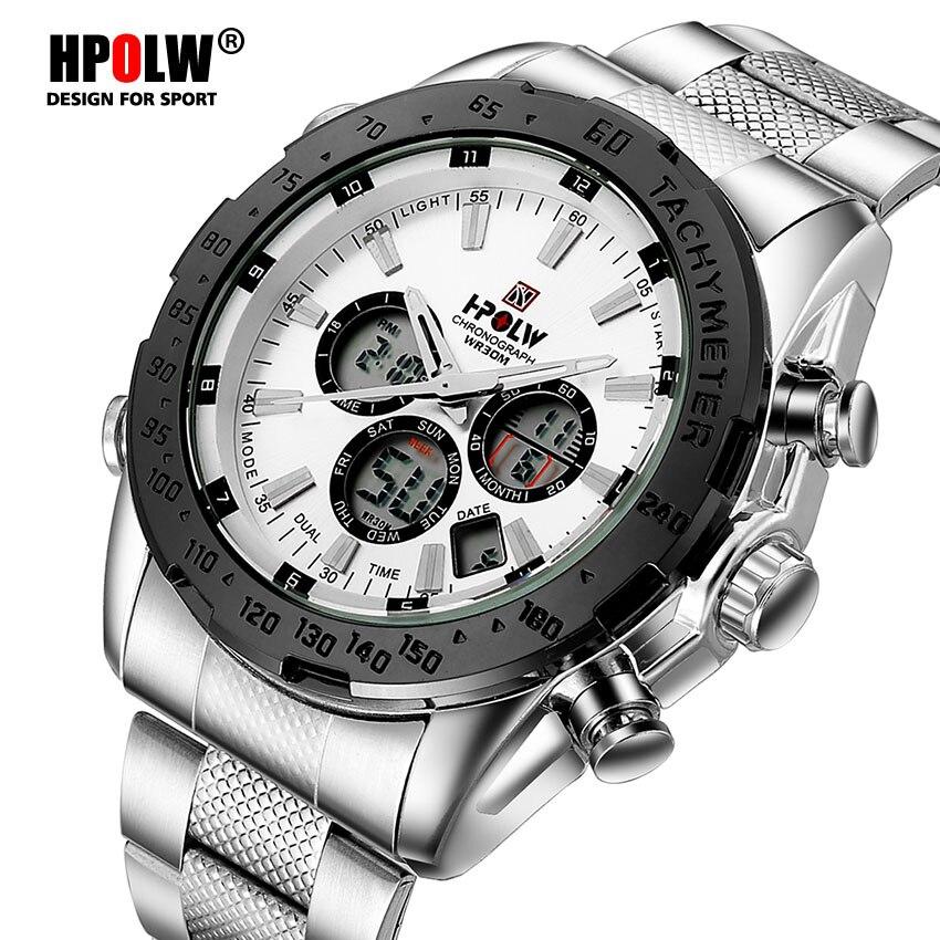 HPOLW Luxury Brand Mens Sports Quartz Digital LED Military Watch Men Fashion Casual Steel Electronics Wristwatches Hot Clock hpolw серебристый цвет 11