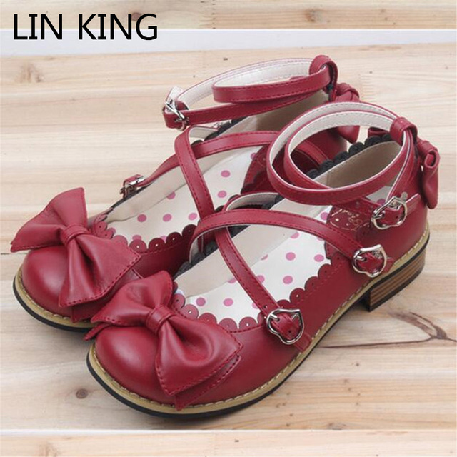 LIN KING Bowtie Women Low Heels Pumps Fashion Low Square Heels Buckle Straps Cosplay Maid Shoes Kawaii Princess Lolita Shoes