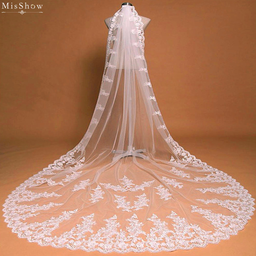 MisShow 2018 Romantic White Ivory 3 Meters One Layer Long Wedding Veil Applique Edge Tulle Bridal Veil Wedding Accessories