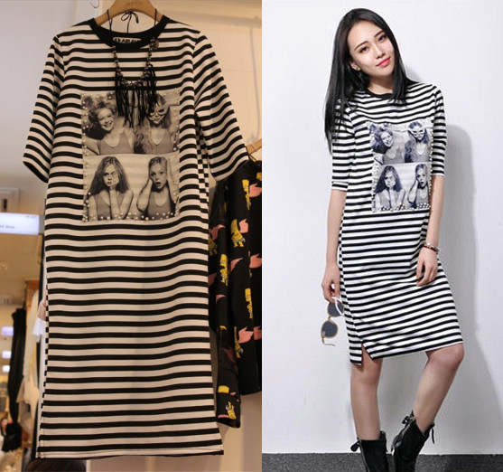 7865dd7a5c47 Summer style black white stripe short sleeve t shirt dress women dresses  tshirt zomer jurken meimei