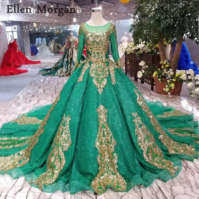 Colorful Green Ball Gowns Wedding Dresses Long Sleeves Boat Neck Gold Lace Corset Custom Made Real Photos Bridal Gowns 2019