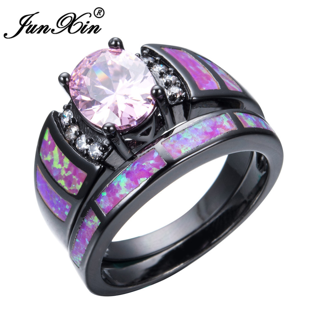 Popular Black and Pink Opal Engagement RingBuy Cheap Black and