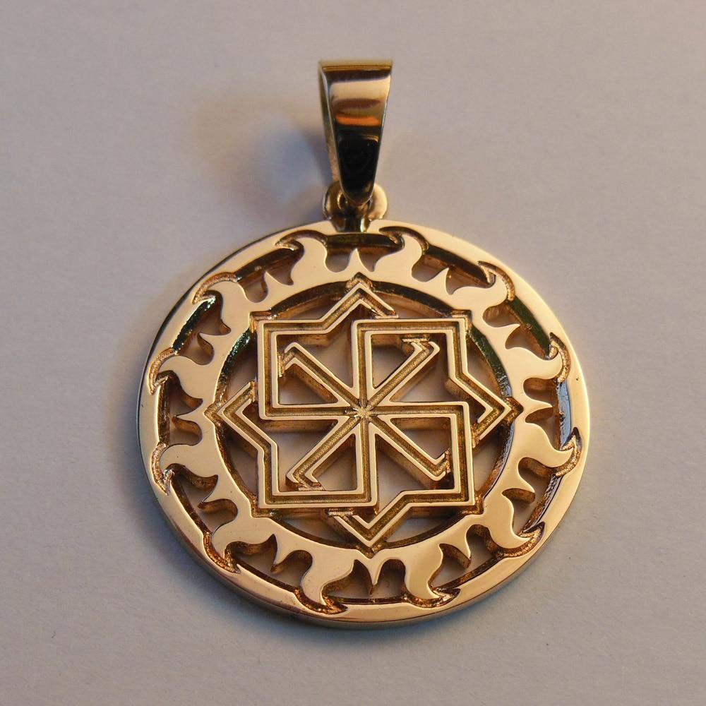 Gold Slavic Molvinets Pendant Kolovrat Minecr Amulet Charm Viking Jewelry Pendant statue