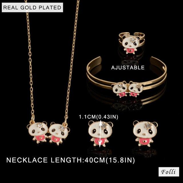 ab008789b 2016 Hot Kids Baby Girls GOLD plating Jewelry Beads Hello Kitty Necklace/ Bracelet/Ring/Earrings Lovely Children Set Gif