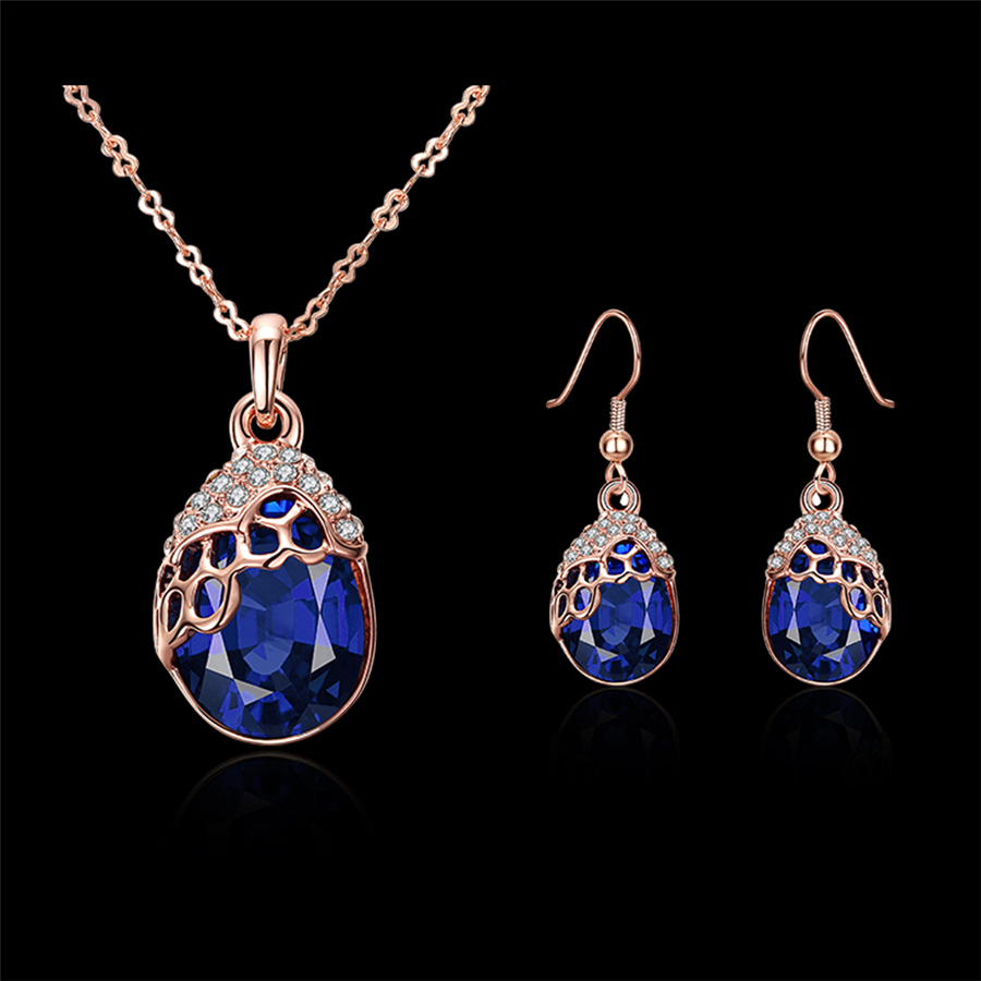 Nehzy Fashion Lady Ball Wedding Series Jewelry Set High End Dazzling Blue Crystal Water Drop Necklace Pendant Earrings In Sets From