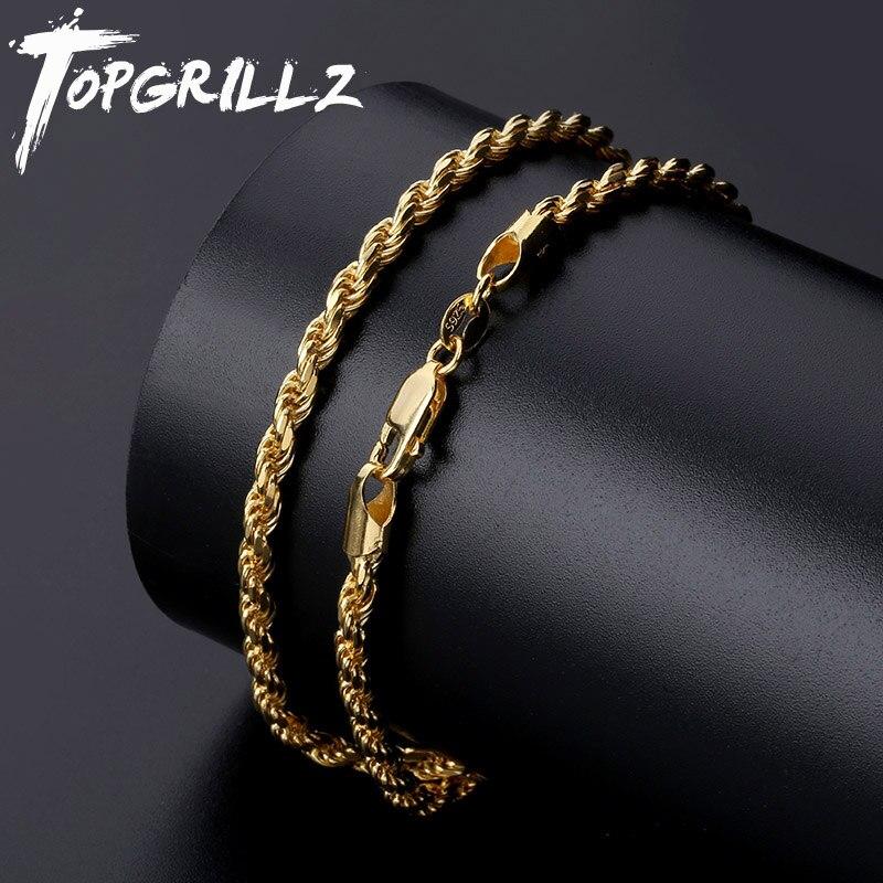 TOPGRILLZ haute qualité 18 22 pouces 925 en argent Sterling 100% chaîne collier pour femmes hommes or argent bijoux de mode cadeau
