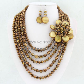 New Design High Quality Statement Necklace Pearl Necklaces For Women 2014 Coffee Pearl Jewelry Set Shell Necklace