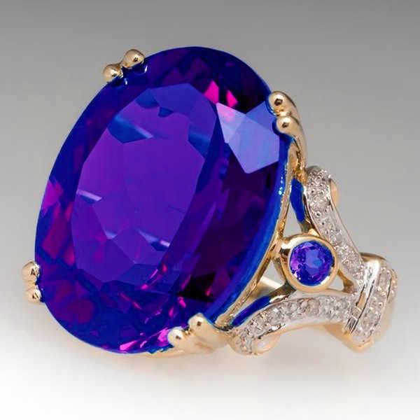 หญิงหรูหราขนาดใหญ่สีดำแหวนหินสีเขียวแฟชั่น 925 Silver Zircon แหวนสำหรับเจ้าสาวรักหมั้นแหวน