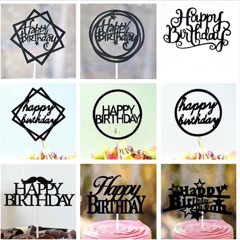 Cupcake Toppers 1st Birthday Girl Party Birthday Cake Decoration Baby Shower Boy Party Supplies Black Happy Birthday Cake Topper Cake Decorating Supplies Aliexpress