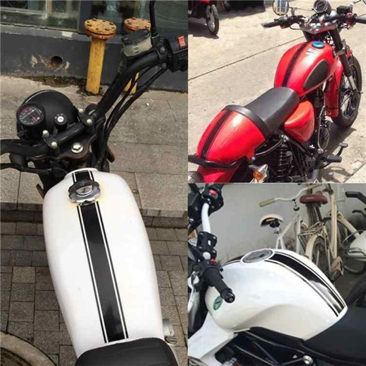 Adeeing 1 adet 50x4.5 cm motosiklet tankı kukuletası karbon fiber vinil şerit çizgili çıkartma Cafe Racer Moto araba styling